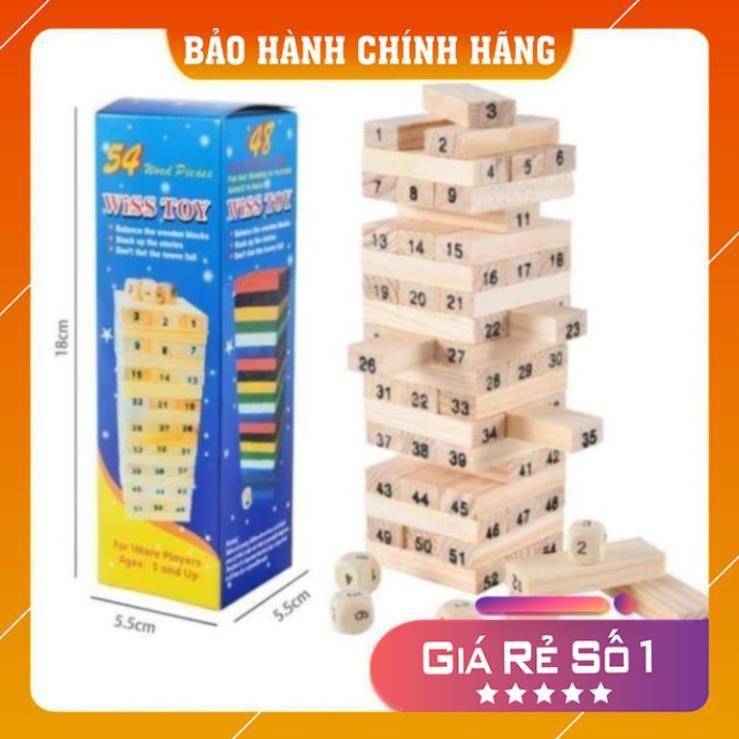 [Mã TOYJAN hoàn 20K xu đơn 50K] Đồ Chơi Rút Gỗ Wish Toy Cho Bé (54 thanh)