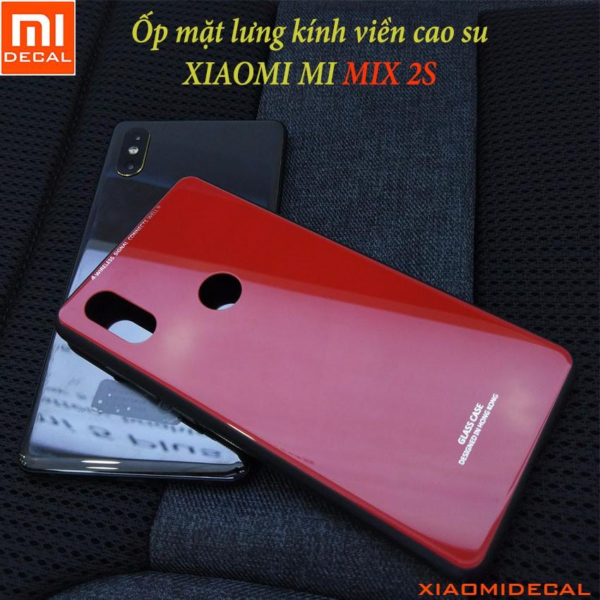 [ Xiaomi MI MIX 2S ] Ốp lưng mặt lưng kính cường lực viền cao su - ĐỎ