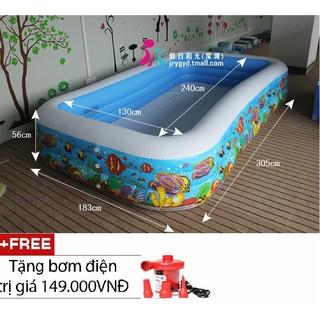 Bể bơi gia đình vuông cá 305x183x56 intex 58485 + tặng kèm bơm điện 2 chiều và bộ keo vá