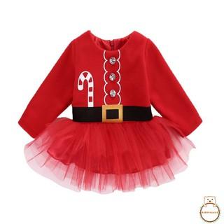 Đầm dài tay cổ tròn dạng xòe họa tiết giáng sinh đáng yêu cho bé gái