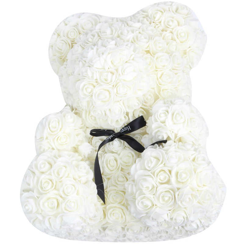 40Cm Teddy With Crown Bear Of Roses Flower Milky White
