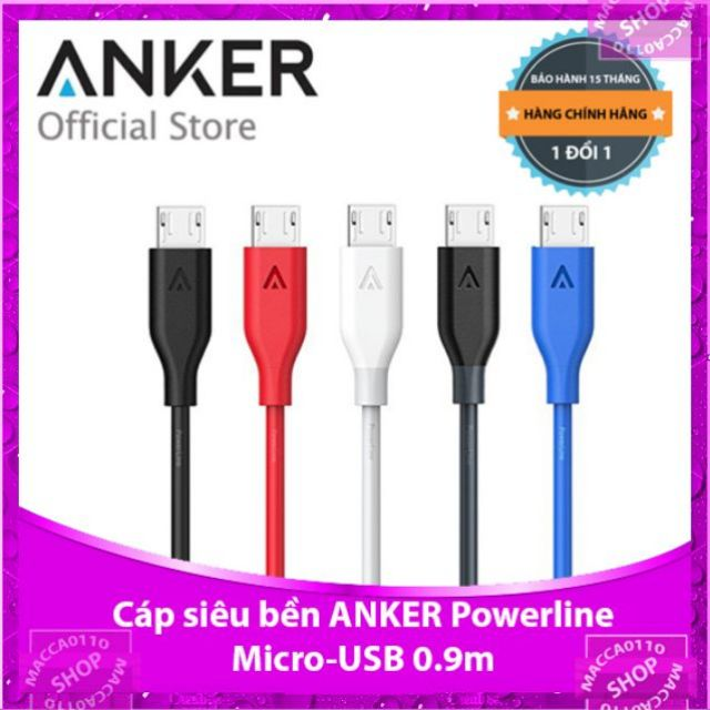 Cáp sạc siêu bền Anker PowerLine Micro USB 0.9m - A8132 - Hãng phân phối chính thức - 3461971 , 949289086 , 322_949289086 , 90000 , Cap-sac-sieu-ben-Anker-PowerLine-Micro-USB-0.9m-A8132-Hang-phan-phoi-chinh-thuc-322_949289086 , shopee.vn , Cáp sạc siêu bền Anker PowerLine Micro USB 0.9m - A8132 - Hãng phân phối chính thức