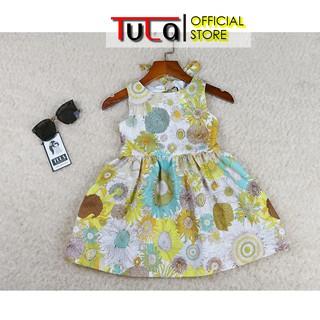 Váy Đầm Cho Bé Gái Họa Hoa Hướng Dương Vàng Cực Xinh Vải Thô Hàn Quốc