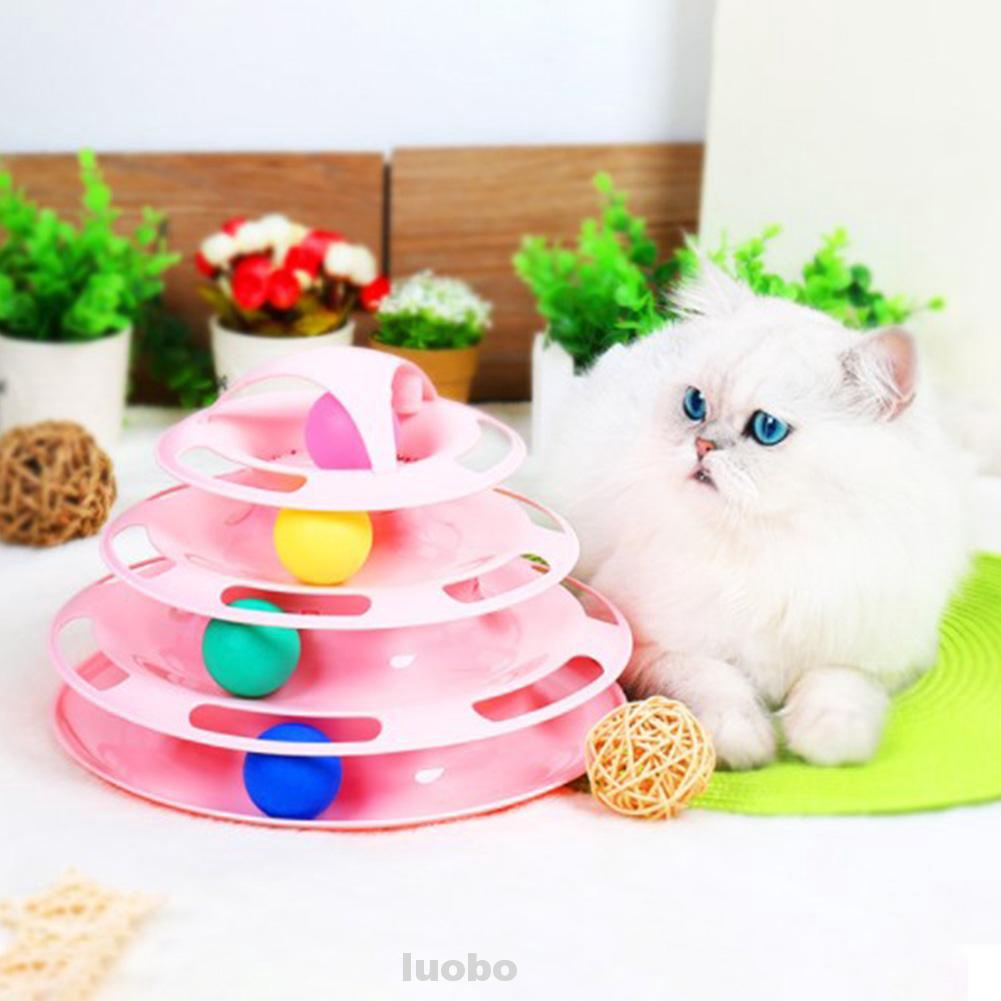 4 Layers Anti Skid Detachable Fun Interactive Kitten Plastic Sturdy Track With Catnip Ball Cat Roller Toy