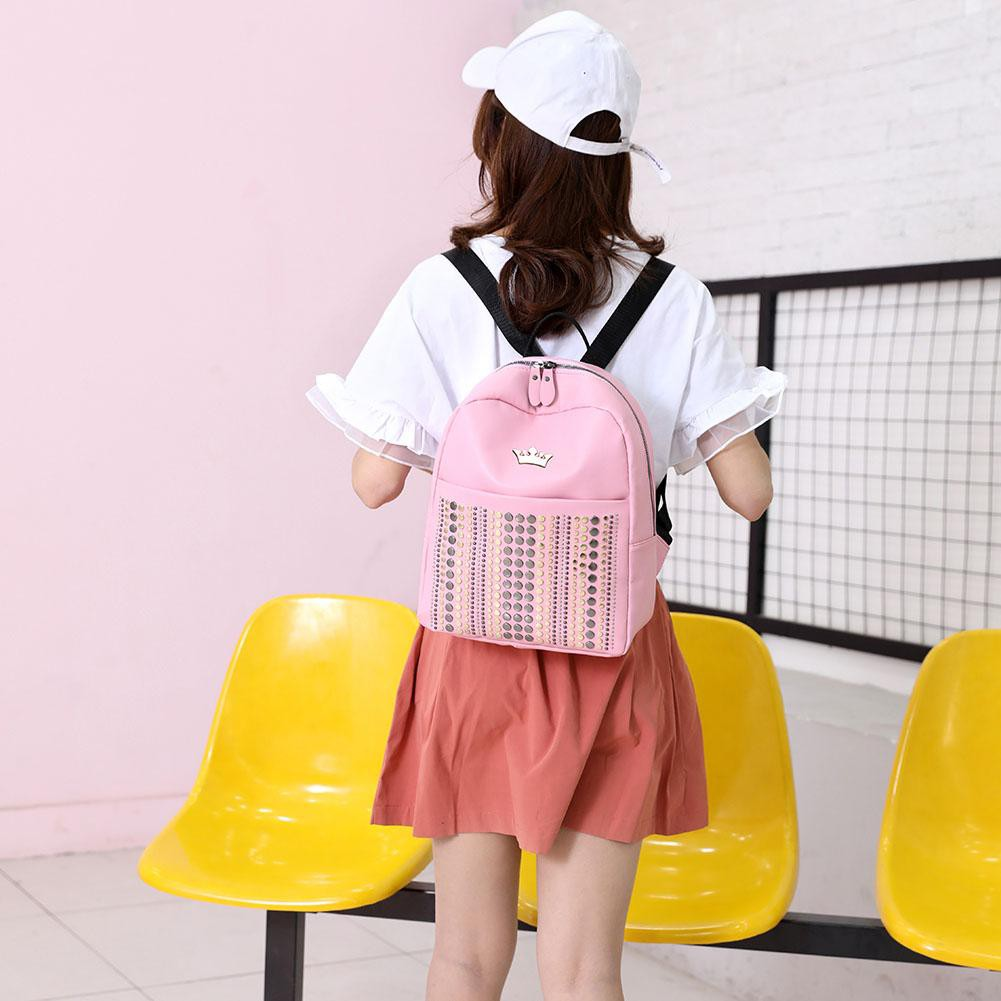 Crown Rivets Travel Bapas Women PU Leather Casual Shoulder School Bags Quilety.vn♫♬♪