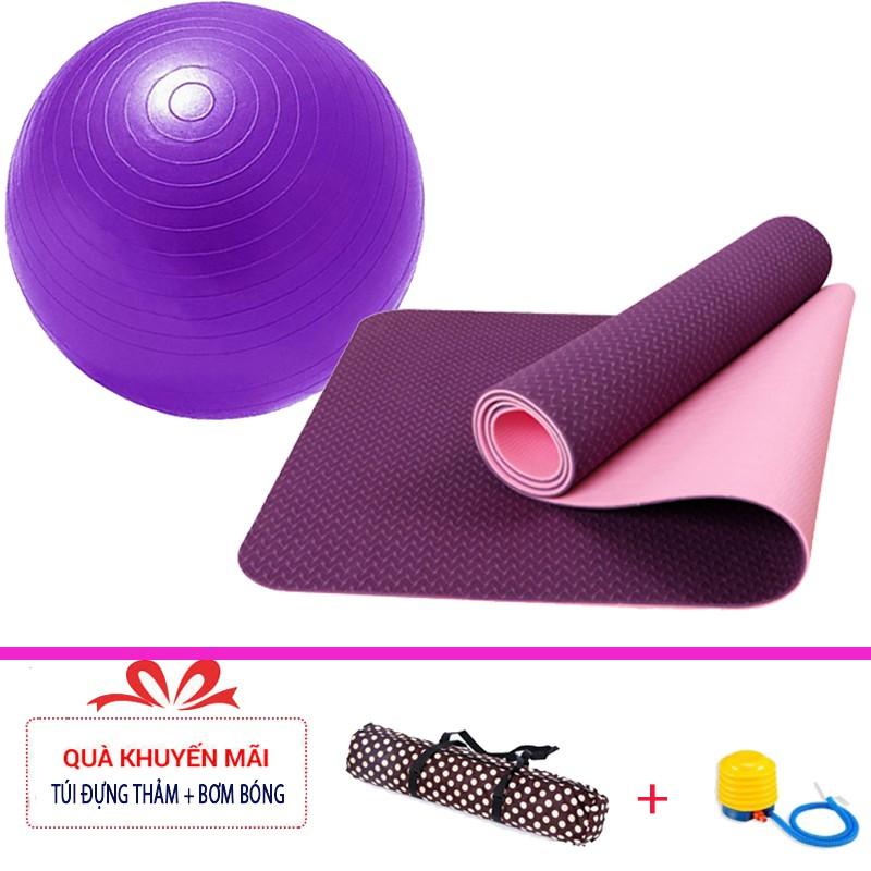 Combo thảm tập yoga TPE 6mm 2 lớp + bóng tập yoga cao cấp (Tặng túi đựng thảm và bơm bóng) - 3309302 , 1290889188 , 322_1290889188 , 450000 , Combo-tham-tap-yoga-TPE-6mm-2-lop-bong-tap-yoga-cao-cap-Tang-tui-dung-tham-va-bom-bong-322_1290889188 , shopee.vn , Combo thảm tập yoga TPE 6mm 2 lớp + bóng tập yoga cao cấp (Tặng túi đựng thảm và bơm bóng)