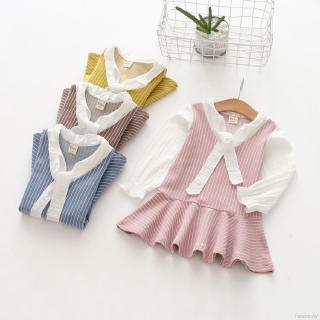 Đầm kẻ sọc phối nơ phong cách Hàn Quốc cho bé gái