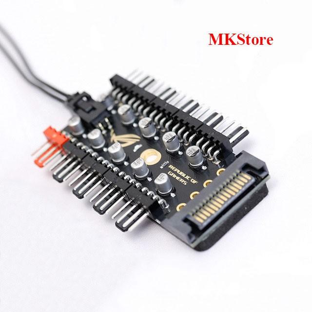 HUB 10 cổng chia Fan 4 pin với nguồn cấp điện SATA + Dây PWM 40cm