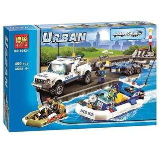 """""""Giá Sập Sàn"""" Bộ Xếp Hình Lego Urban City Police – Cảnh Sát Biển Tuần Tra Mã sô Bela 10421"""