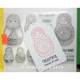 HnAstampy-CS434 con dấu trong suốt clear stamp dùng cho thiệp handmade scrapbook planner bộ búp bê Nga