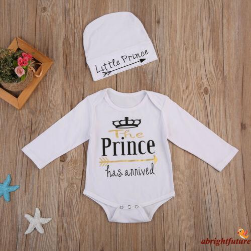 ♛♚♛Newborn Baby Boy Hospital Romper Bodysuit + Hat Outfits Cotton Clothes 0-24M