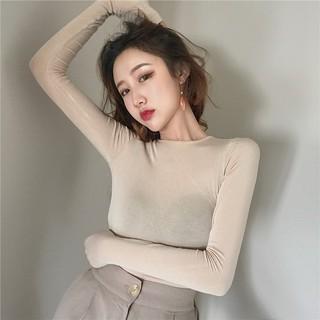 Áo kiểu tay dài màu trơn thiết kế quyến rũ