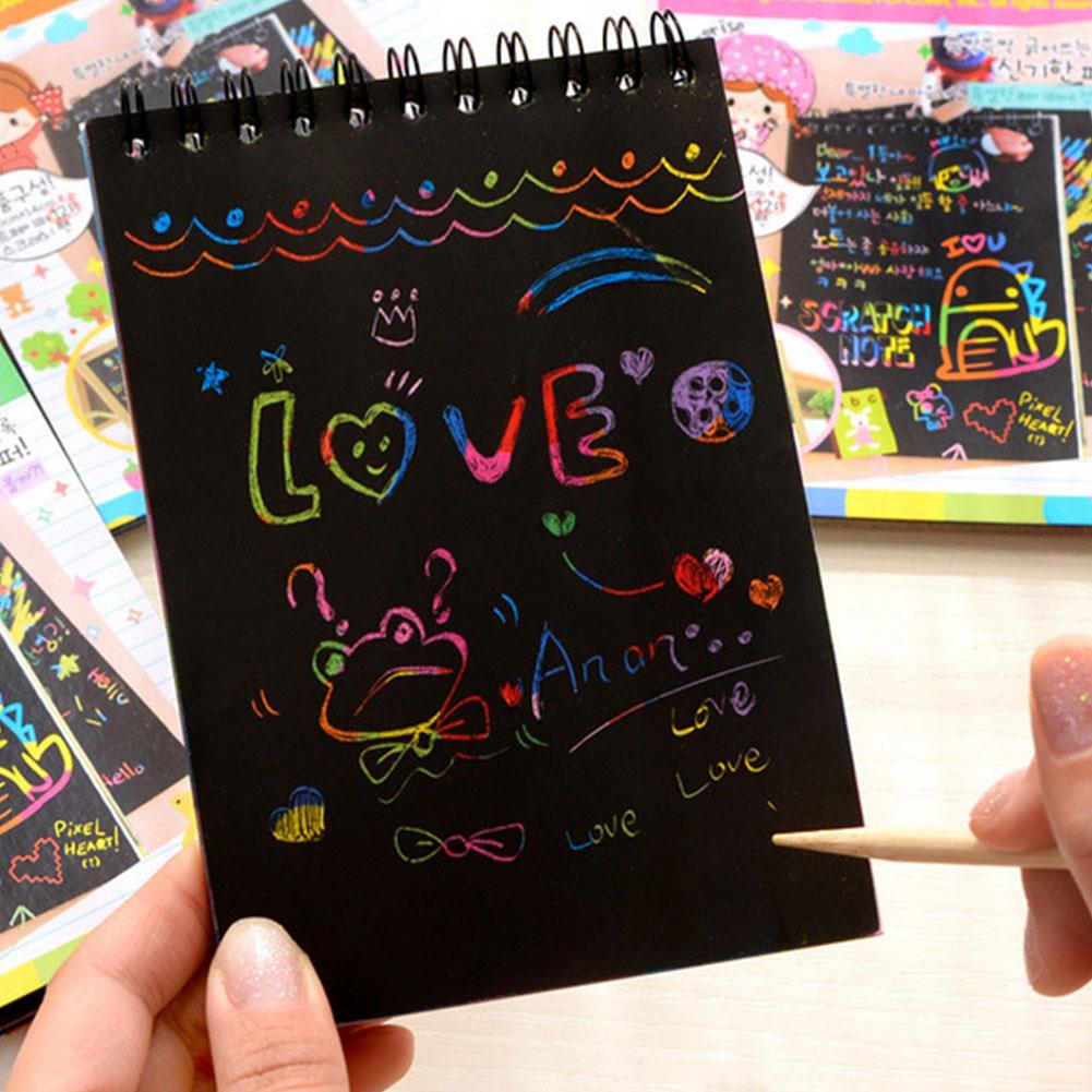 Toy Kids DIY Black Blank Scratch Notepad Sketch Drawing Book Cute Children Stationery Graffiti Painting Cardboard Coil