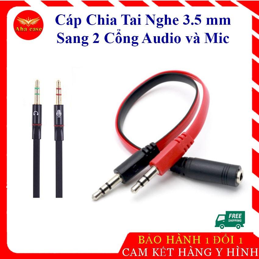 Jack chuyển đổi tai nghe 3.5 sang Audio & Mic dùng trên laptop máy tính, Cáp Chia 3.5mm( đen đỏ)