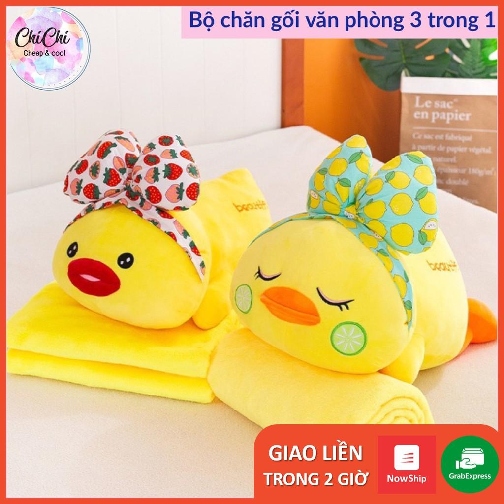 Chăn Gối Văn Phòng 3 Trong 1 Hình Vịt Điệu Đà (vàng) GM025 Chichi,Gấu Ngủ Kèm Mền siêu cute phù hợp mọi lứa tuổi.