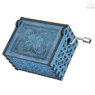 Tfh★Vintage Wooden Theme Song Music Box Hand-operated Carved Engraving Music Case Creative Holiday Birthday Gifts for Ki
