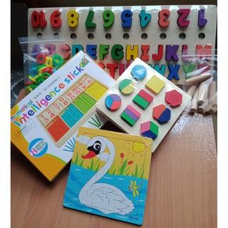 Combo 3 bộ đồ chơi toán học phát triển tư duy( Tặng 1 tranh ghép)