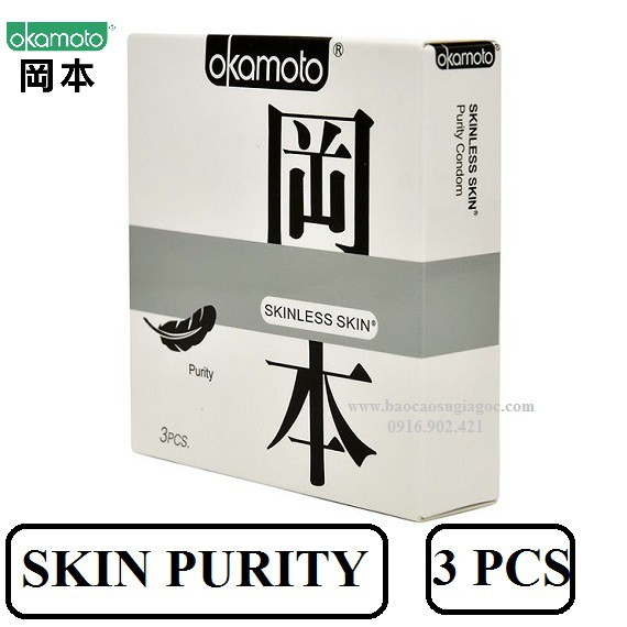 Bao cao su Okamoto Skinless Skin Purity Siêu mỏng Mềm mại (3 cái)