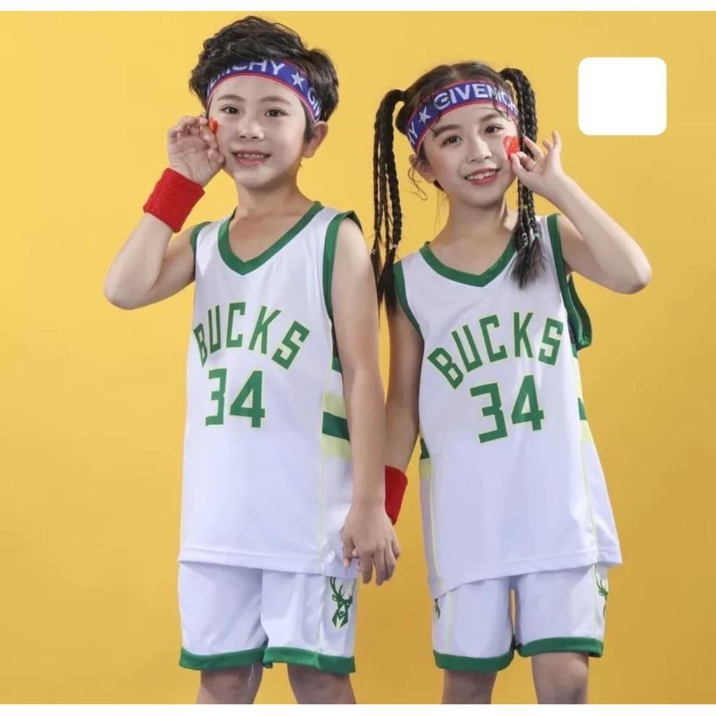 Bộ ngắn thể thao bóng rổ bé trai và bé gái sát nách, màu trắng, cho bé từ 12-55kg