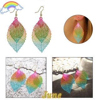 JUNE 1Pair Fashion Hook Ear Stud Colorful Jewelry Leaf Earrings New Party Dangle Double Layer