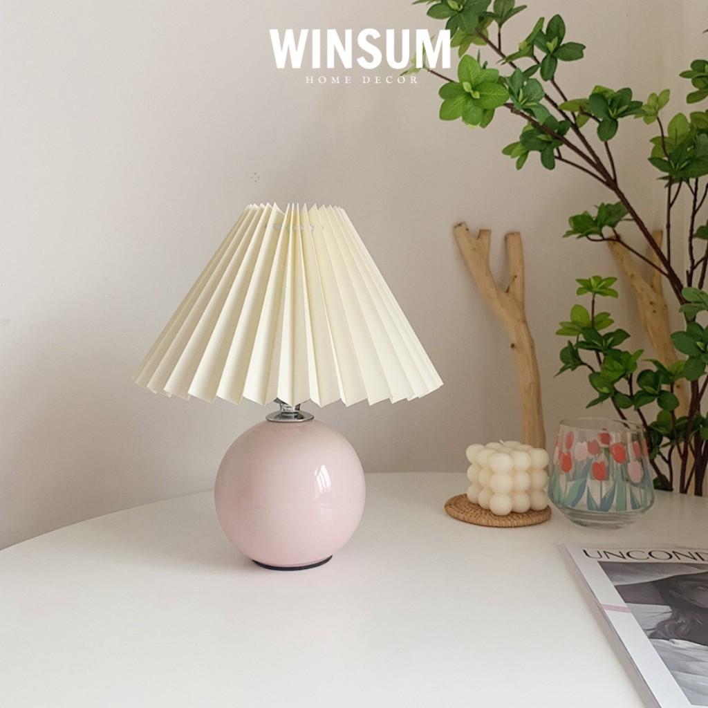 Đèn ngủ vintage thân gốm tròn trang trí phòng kiểu Hàn Quốc bóng đèn tiết kiệm điện  - winsum.decor