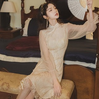Đầu mùa xuân Pháp phong cách cổ điển Cộng hòa Trung Hoa Yujie ren sườn xám mới phiên bản cải tiến váy cô gái t