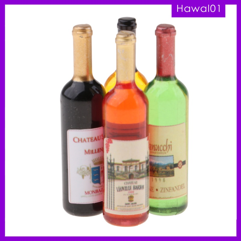 4pcs Dollhouse Miniatures 1:12 Scale Cocktail Bottles Wine Toys Doll Kitchen Dining Room Decorations