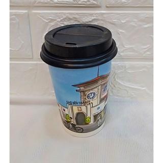 50 Ly Giấy In Hình Chợ Bến Thành 14oz 360 ml Có Nắp Ly giấy cafe Ly giấy đựng cà phê Cốc giấy Cốc giấy cafe thumbnail