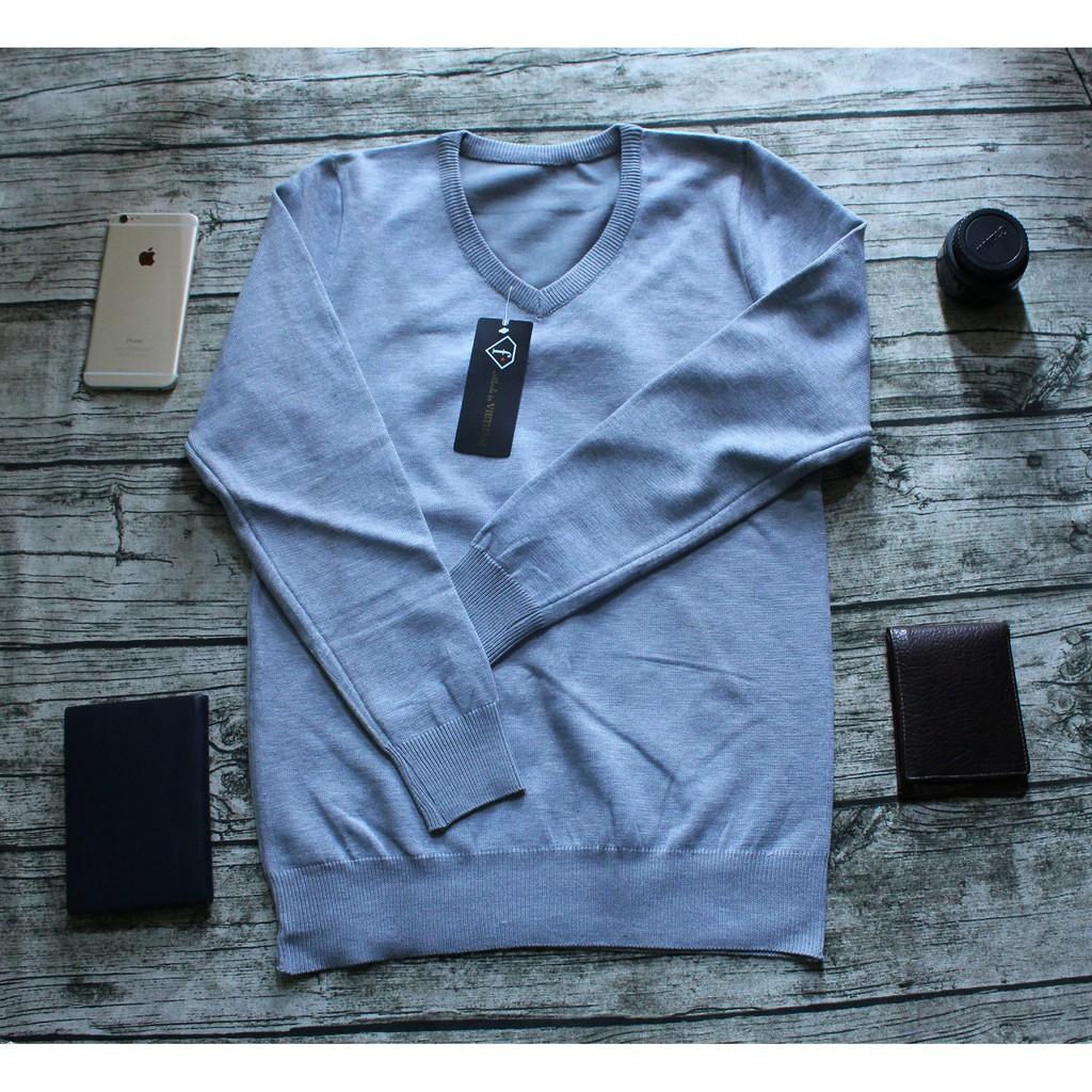 Áo len nam trơn màu ghi sáng