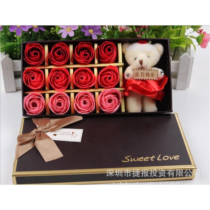 Bộ 12 hoa hồng đỏ xà phòng thơm mát và gấu bông làm quà tặng nàng teen - 2820283 , 282888193 , 322_282888193 , 150000 , Bo-12-hoa-hong-do-xa-phong-thom-mat-va-gau-bong-lam-qua-tang-nang-teen-322_282888193 , shopee.vn , Bộ 12 hoa hồng đỏ xà phòng thơm mát và gấu bông làm quà tặng nàng teen
