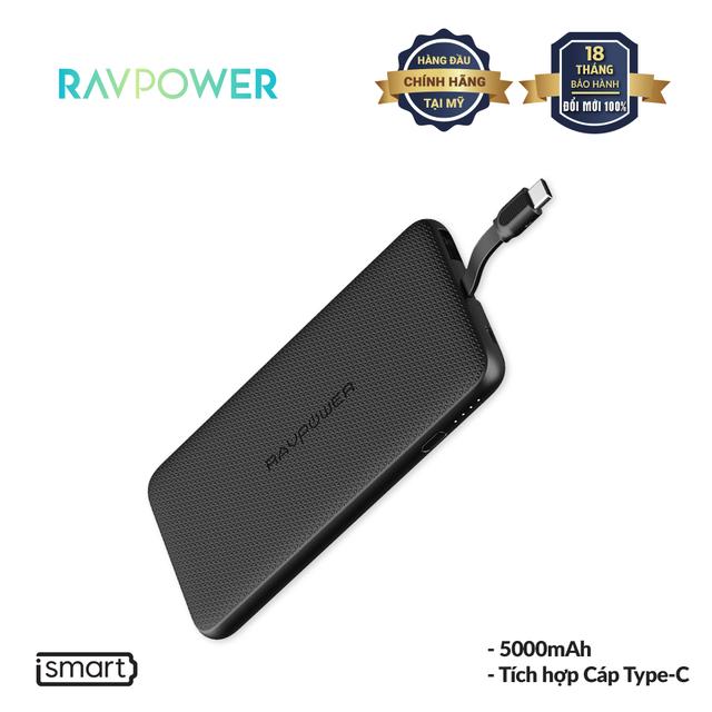 Pin Sạc Dự Phòng RAVPower 5000mAh 10W Tích Hợp Cáp Type-C, Thiết Kế Siêu Mỏng