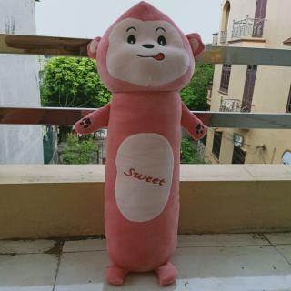 Gấu bông, gối ôm khỉ hồng cho bé 50cm