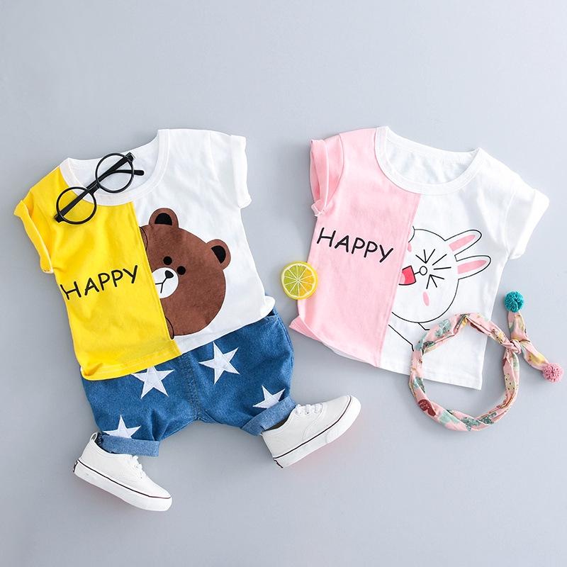 Newborn Baby Clothing Kids Cotton Bear TShirt+Short Jeans Toddler Clothing Sets