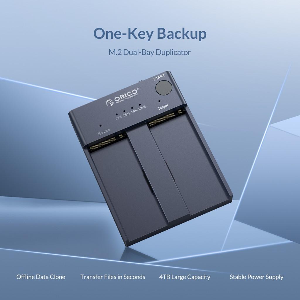 Đế ổ cứng 2 khe cắm SSD ORICO NVME M.2 M2P2-C3-C-GY