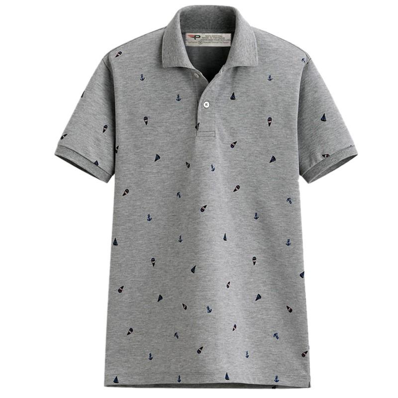 Áo thun polo nam họa tiết mỏ neo sang trọng AHT01 (màu Ghi chú) (chuẩn xuất khẩu)