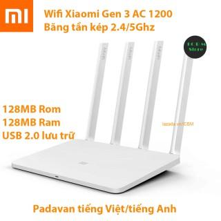 Bộ phát wifi Xiaomi Mi Gen 3, MIR3 AC1200 băng tần kép rom Padavan có IPTV + tặng cáp mạng