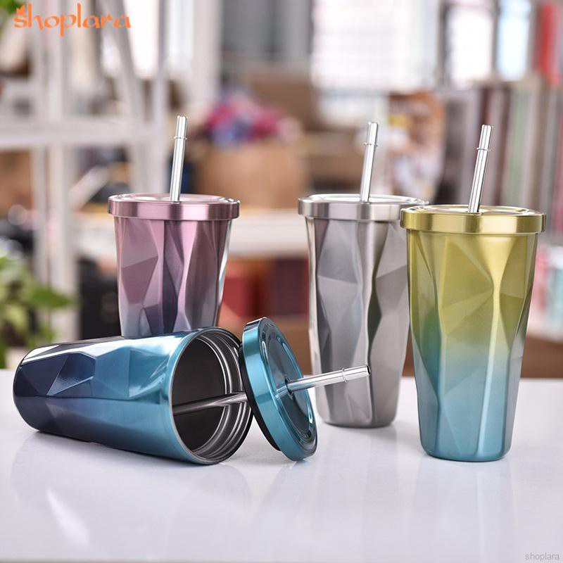 500ML Stainless Steel Drinking Cup with Lid and Straw Hot and Cold Double Wall