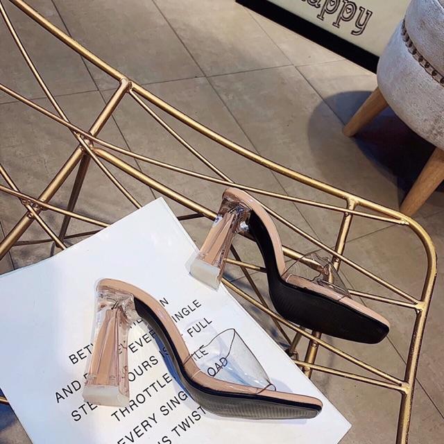 [Xưởng giày cao gót] Dép cao gót 9p quai bản trong gót loe sơn trong hàng đẹp