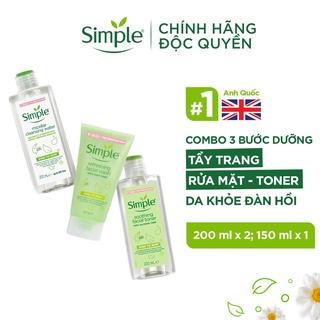 Combo Simple Tẩy trang 200ml + Sữa rửa mặt 150ml + Nước hoa hồng 200ml cho da sạch khỏe đàn hồi [CHÍNH HÃNG ĐỘC QUYỀN] thumbnail