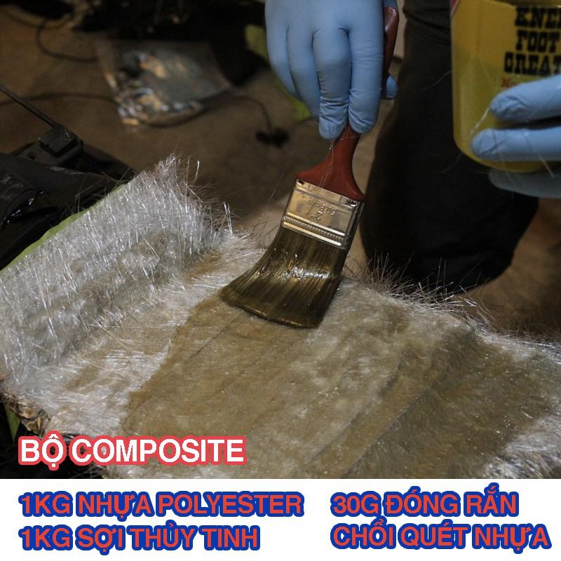 Nhựa Composite - Keo Polyester resin và sợi thủy tinh, Chổi, dùng đúc tượng, làm khuôn mẫu, dàn nhựa, độ yên xe, cano.