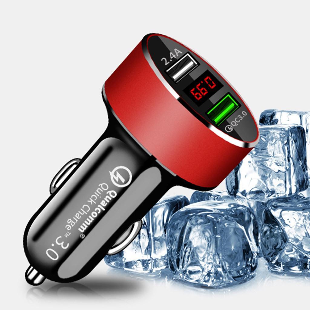 Tẩu sạc 2 cổng USB QC3.0 tích hợp đèn LED và màn hình hiển thị cho máy tính bảng PC điện thoại