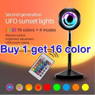 Đèn LED RGB để sàn chiếu màu hoàng hôn/ mặt trời/ cầu vồng trang trí hiện đại cho phòng ngủ phòng khách mới
