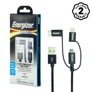 Cáp 3 trong 1 Lightning - MicroUSB - USB C Energizer Metallic 1m2 - C13UBX3CFBK4 (Đen)