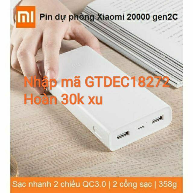 Pin sạc dự phòng Xiaomi 20000mAh gen 2c- Chính hãng Digiword