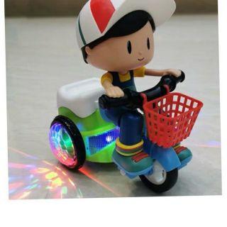 (giá rẻ nhất) Đồ chơi em bé lái xe đạp bốc đầu xoay 360 độ phát sáng có nhạc vui nhộn