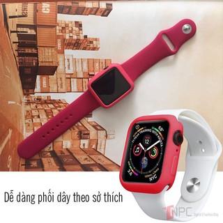 Bộ Ốp kính cường lực 9H & Dây đeo màu chống bẩn bảo vệ đồng hồ Apple Watch size 38mm 40mm 42mm 44mm