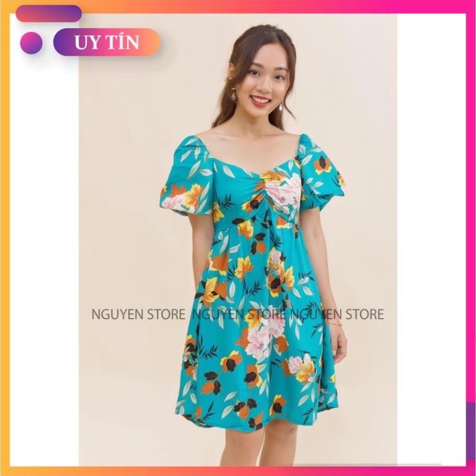 Đầm xòe  - mẫu váy đẹp - váy xòe nhún ngực tay phồng - freesize - trẻ trung năng động