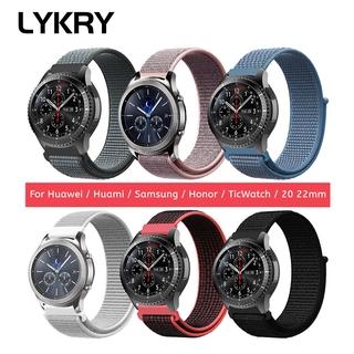 Dây đeo đồng hồ Lykry bằng nylon cho Samsung Gear S3 S2 & Huawei GT 2 Samsung Galaxy watch 20mm/22mm & 42mm/46mm