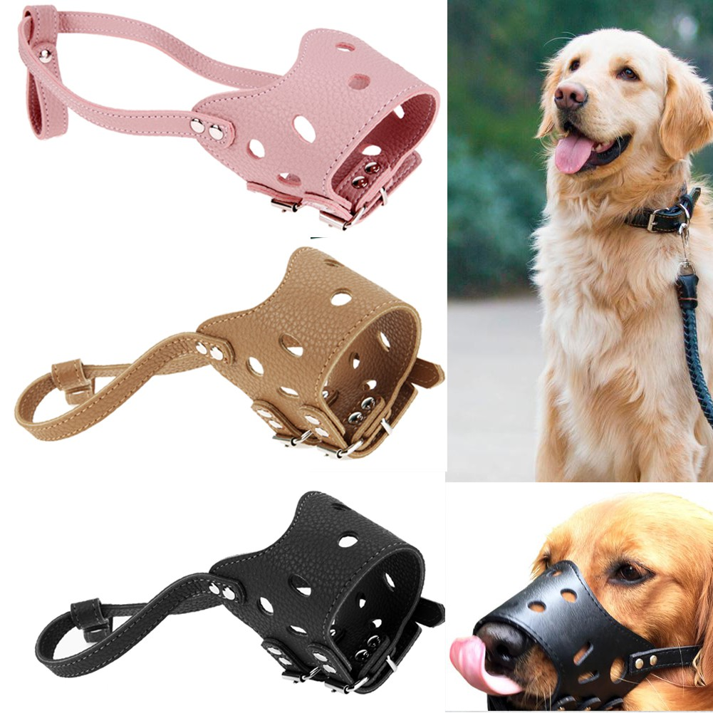 Adjustable Leather Dog Muzzle Anti Bark Bite Chew Dog Training Products Rieccy.th