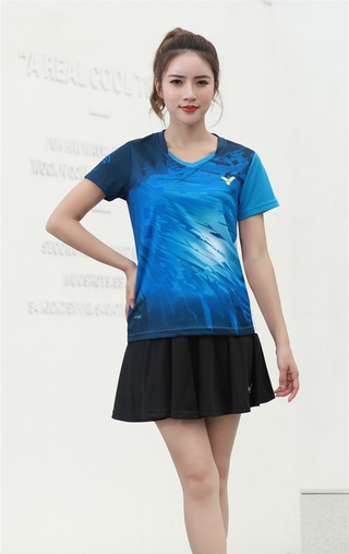 2021 New Arrival victory Badminton Clothes Breathable Quick-Dry Stripe Jersey Shirts+Shorts woman Sets Couple Sets red blue